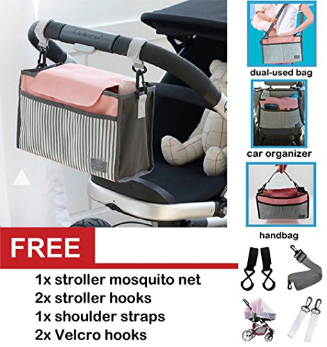 Best Universal Baby Jogger Stroller Organizer Bag / Diaper Bag with Stroller Hooks,Mosquito Net and Shoulder Strap. Extra Storage Space for Organize the Baby Accessories and Your Phones from Corelink