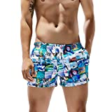 F_Gotal Men's Swim Trunks Quick Dry Board Shorts Photograph Print Swimming Shorts Pockets Beach Bathing Suits Swimwear Blue