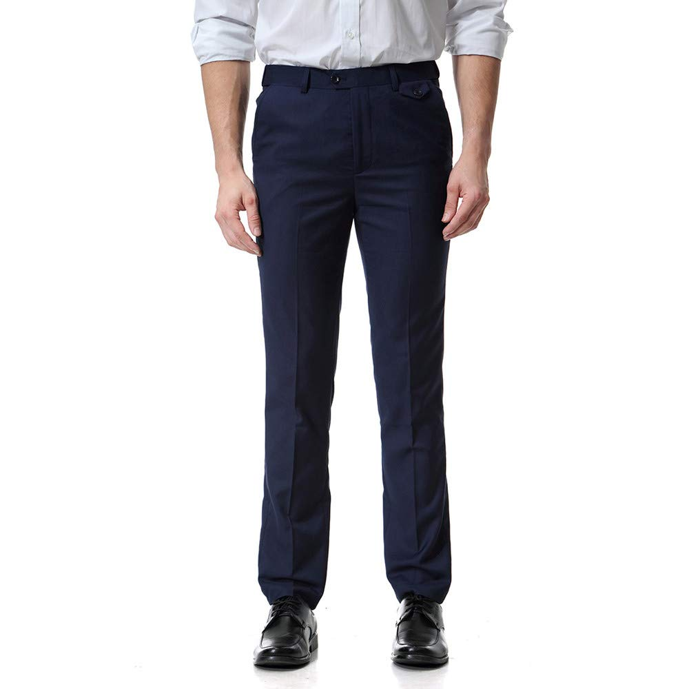 PASATO Clearace Sale! Men Pocket Overalls Casual Pocket Business Casual Work Casual Trouser Pants(Navy, XXXXXXL) by PASATO
