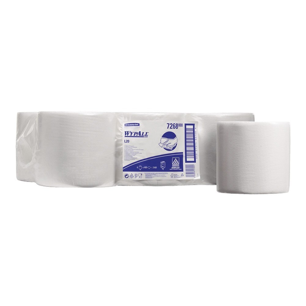 WYPALL* L10 Extra+ Wiper Centrefeed 7268 - 6 rolls x 400 white, 1 ply sheets Kimberly-Clark Professional (EU)