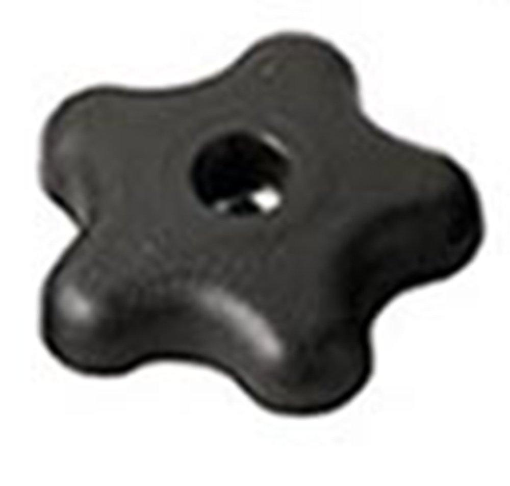 Davies Thermoplastic Five Arm (Star) Knob, Flute Rim, Threaded Through Hole, 1/4''-20 Thread Size X 1/4'' Thread Length, 2-1/4'' Diameter (Pack of 10)