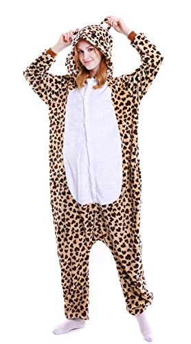 Dingwangyang Uinisex Adult Pajamas Onesie Kigurumi Cosplay Costumes Animal Jumpsuit Leopard Bear-M
