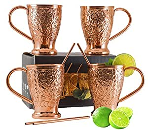 Moscow Mule Pure Copper Mug Set - Bonus Copper Straws / Stir Sticks for Cocktails, Juleps & Russian Mules. Kamojo Gift Set of 4 Mugs
