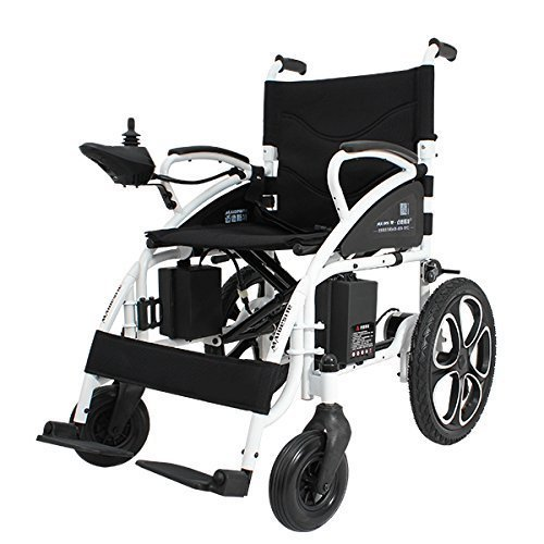 Electric Wheelchair Foldable Lightweight Electric Power Wheelchairs (Black)
