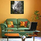 Wall Art Print entitled Water Cascading Down The Rock And Forming A Mist by Design Pics