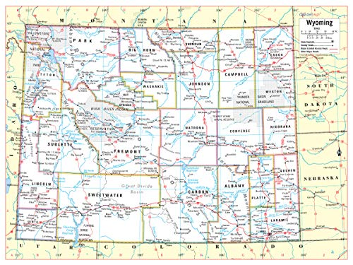 (Cool Owl Maps Wyoming State Wall Map Poster Rolled 24