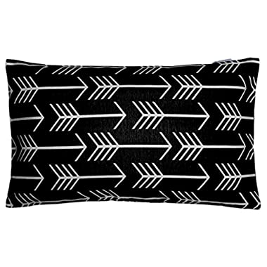 JinStyles Cotton Canvas Arrow Accent Decorative Throw Lumbar Pillow Cover / Cushion Sham (Black, White, Rectangular, 1 Cushion Sham for 12 x 20 Inserts)