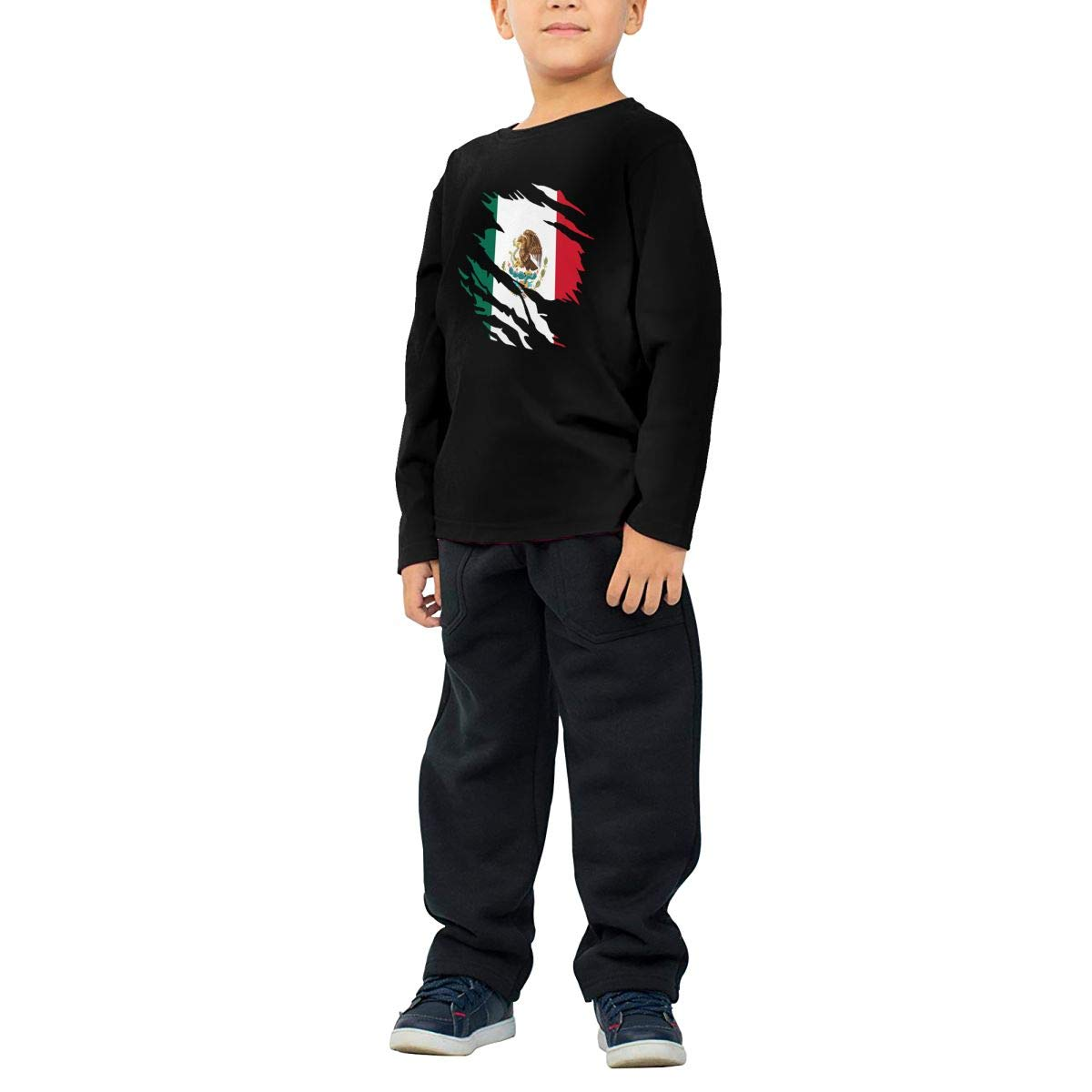 SHIRT1-KIDS Ripped Mexico Flag Toddler//Infant O-Neck Long Sleeve Shirt Tee for Toddlers