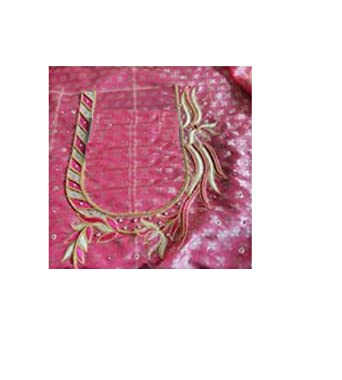 b98fea03e9ccd3 Vijaylaksmi Maggam Designs Women's Silk Blouse Piece(Lotus  Work2_Pink_Freesize)