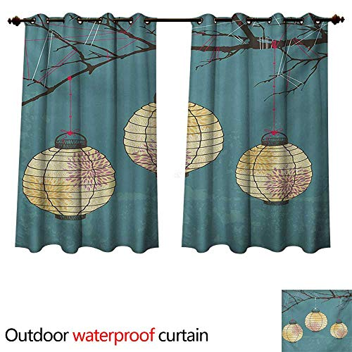 WilliamsDecor Lantern Outdoor Curtain for Patio Three Paper Lanterns Hanging on Branches Lighting Fixture Source Lamp Boho W63 x L72(160cm x 183cm)