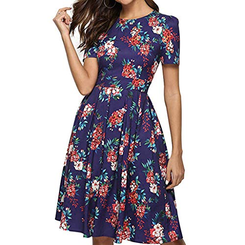 Women Dresses Casual Party with Flowers Hosamtel Floral Print Short Sleeve Summer Elegant Loose Fit Cocktail Midi Dress -
