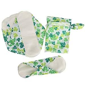 HOMYL 4pcs Bamboo Charcoal 10'' Reusable Washable Women Female Menstrual Pads Cotton Sanitary PantyCloth Liners + Bag - Super Absorbent