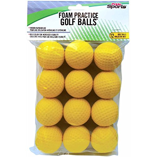 Golf Training Balls - PrideSports Practice Golf Balls, Foam, 12 Count, Yellow