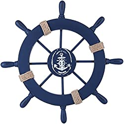 Rienar Nautical Ship Wheel Wooden Boat Steering Wall Decor (Deep Blue)