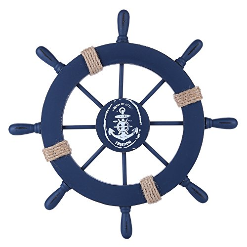 Rienar Nautical Beach Wooden Boat Ship Steering Wheel Fishing Net Shell Home Wall Decor (Deep Blue)]()