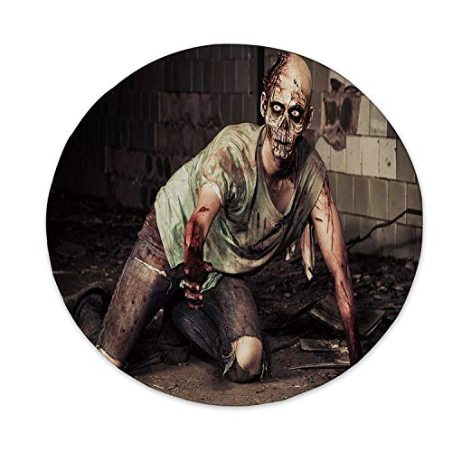 Zombie Decor Ceramic Decorative Plate,Halloween Scary Dead Man in Old Building with Bloody Head Nightmare Theme for Home Decorative,6 inch]()