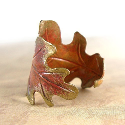 Hand Painted Autumn Oak Leaf Ring Red Orange Yellow and Bronze Patina Custom or Adjustable Size Distressed Bronzed Metal