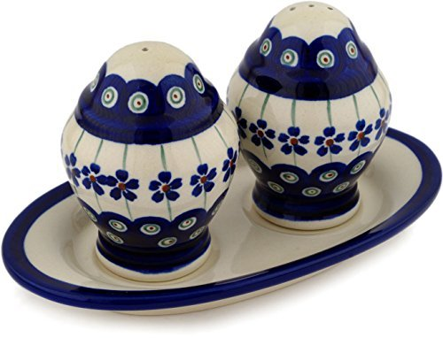 (Polish Pottery 7¼-inch Salt and Pepper Set (Flowering Peacock Theme) + Certificate of Authenticity)