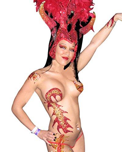 Blaze Body Temporary BODY ART Dancer Stripper Devil Costume Xotic Eyes (Stripper Costumes)