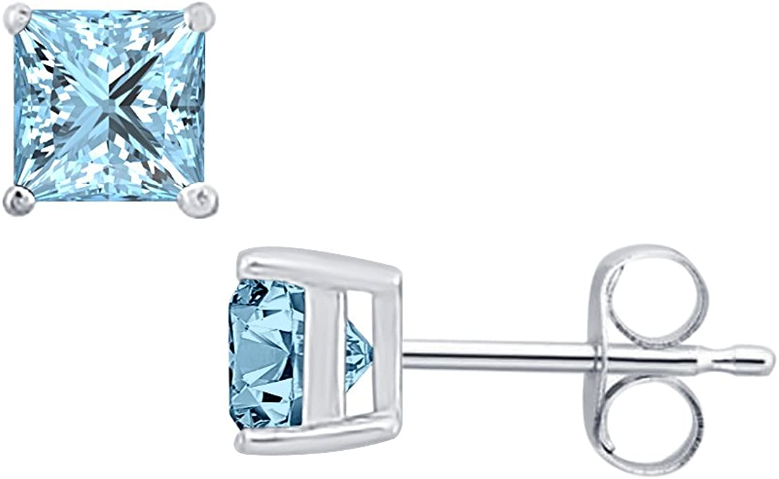 SVC-JEWELS Princess Cut Black Diamond Solitaire Stud Earrings 14K White Gold Over .925 Sterling Silver For Womens /& Girls 3MM TO 10MM