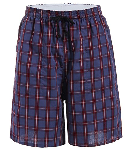 Latuza Men's Cotton Plaid Lounge Sleep Shorts, 09, - Shorts 09 Mens