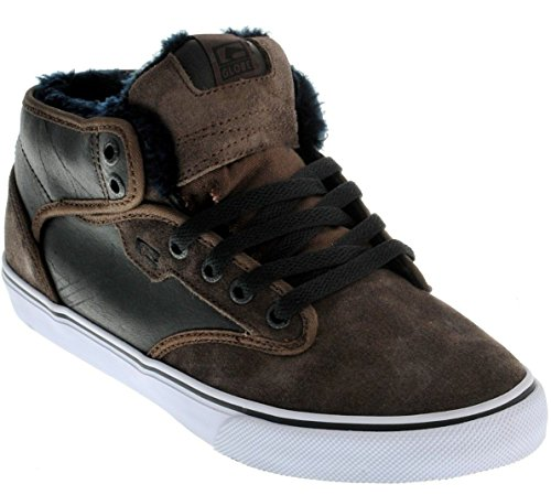 Globe Motley Mid Chocolate Weiß Fur Leder Herren Skate Sneaker Schuhe Stiefel
