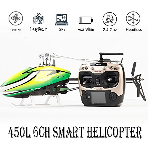 Smart Drone 450L 6CH RC Helicopter 450L 6-axis-Gyro Flybarless GPS RC Helicopter RTF 2.4GHZ RC Helicopter RTF 2.4GHZ (Green)