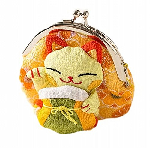 POJ Japanese Style Coin Purse [Green / Yellow / Pink / Blue ] Lucky Cat (Manekineko) Pattern Cosplay Goods (Cute Toga Ideas)