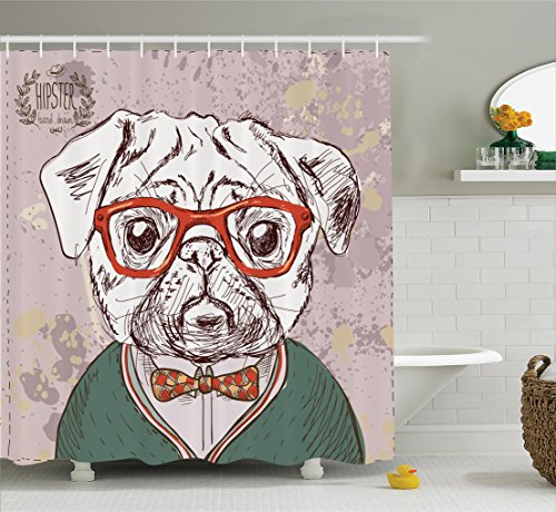 Dog Lover Decor Shower Curtain by Ambesonne, Vintage Illustration of Old Hipster Pug Dog with Red Glasses and Bow Master of Professor, Fabric Bathroom Set with Hooks, 84 Inches Extra Long, Multi Color
