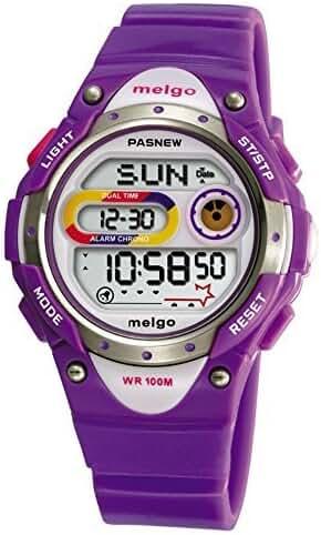 Pasnew LED Waterproof 100m Sports Digital Watch for Children Girls Boys (Purple)