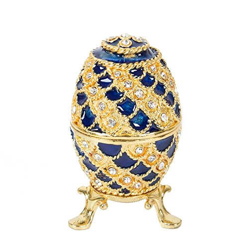 QIFU-Hand Painted Faberge Egg Style Decorative Hinged Jewelry Trinket Box Unique Gift for Home Decor ()