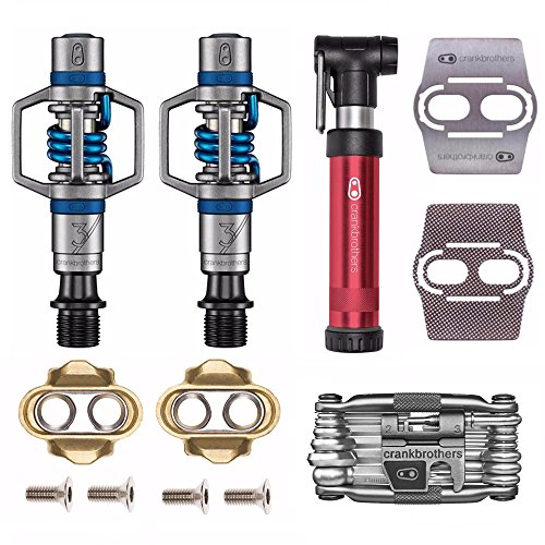 Crank Brothers CRANKBROTHERs Eggbeater 3 Bike Pedals (Blue) with Cleats and Shoe Shields Set + Gem S Pump + M10 Tool Kit