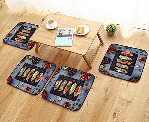 UHOO2018 Elastic Cushions Chairs Mini Sandwiches Food Set Brushetta Or  Authentic Traditional Spanish Tapas For Living Rooms W29.5 X L29.5/4PCS Set