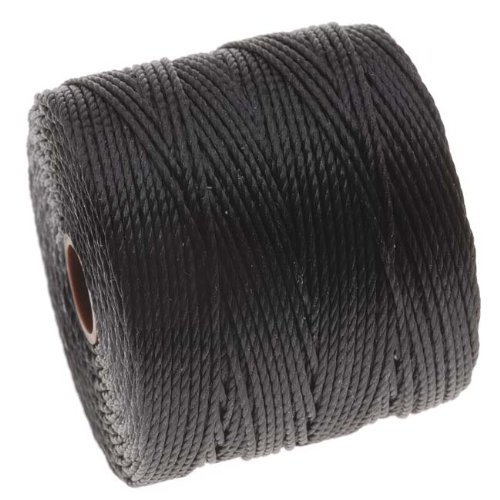 Beadaholique SLBC-BK BeadSmith Super-Lon Twisted Nylon Cord, Size 18, Black