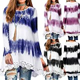 Blouses for Womens,DaySeventh Women's Casual Loose Long Sleeve Tie Dye Tunic Top Lace Hem Blouse