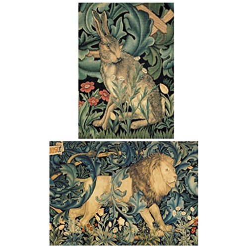 William Morris Tapestry Miniature Jigsaw Puzzle Bundle with 2 Mini Puzzles Lion and Hare 40 Piece (Gift Tapestry Christmas Stocking)