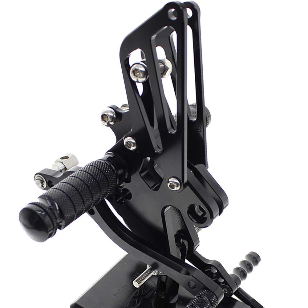 Krace Motorcycle Adjustable Rearsets Foot peg Black For Kawasaki NINJA 250 EXC250 2008-2012 2009 2010 2011