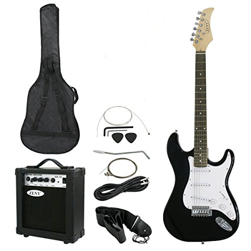 Smartxchoices 39″ Full Size Black Electric Guitar W/ 10W Amp,Case and Accessories Package for Beginner Starter (#1)