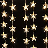 AGPtek 110V 1.5M(W) x 1M(H) Decorative LED Curtain Light 54 LED for Christmas Wedding Party Holiday Home Garden Decoration - Warm White Star Curtain