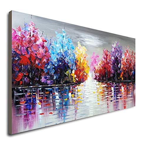 Hand Painted Lake Landscape Canvas Wall Art with Colorful Tree Thick Texture Oil Painting Abstract Artwork (48 x 24 ()