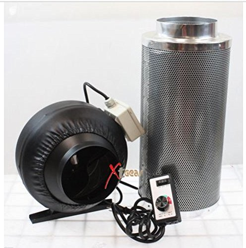 USA Premium Store 8'' x 42'' Carbon Air Filter Pro Combo 8 Inch Inline Fan Inline Exhaust Hydroponic