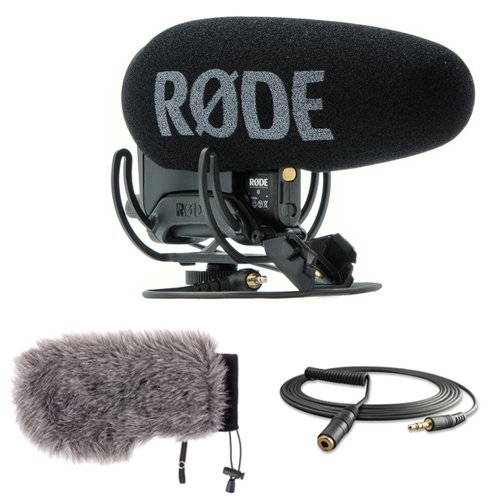 Rode VideoMic Pro Plus On-Camera Shotgun Microphone with Windbuster for Rode VideoMic Pro & Mini Male to Stereo Mini Female Cable by Rode