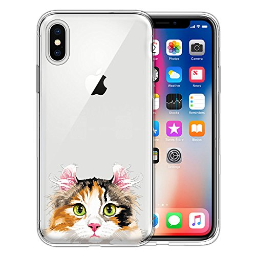 FINCIBO Case Compatible with Apple iPhone X XS 5.8 inch, Clear Transparent TPU Silicone Protector Case Cover Soft Gel Skin for iPhone X XS - Calico American Curl Longhair Cat