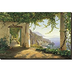 Canvas Print Wall Art 'View to the Amalfi Coast' by Carl Frederic Aagaard, 24x36 in