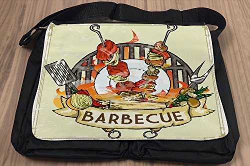 Umhänge Schulter Tasche Essen Restaurant Barbecue bedruckt