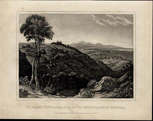 mafra-cintra-mountains-landscape-view-spain-scarce-1817-antique-engraved-print