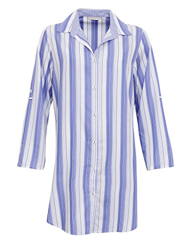 Cyberjammies 3219 Women's Vienna Blue Stripe Sleep Shirt Nighty Nightshirt
