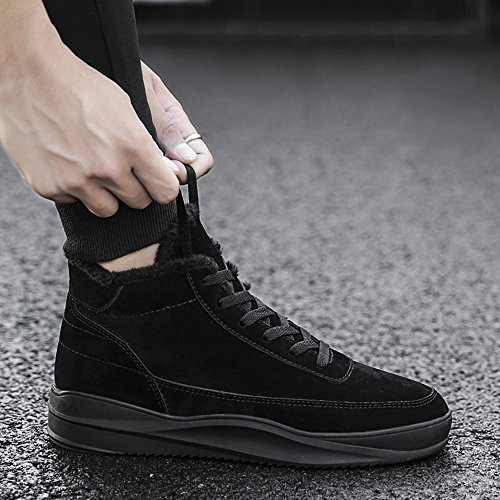Men's Shoes Feifei High-Quality Materials Winter High Help Non-Slip Keep Warm Sports and Leisure Plate Shoes 3 Colors (Color : Black, Size : EU43/UK9/CN44)
