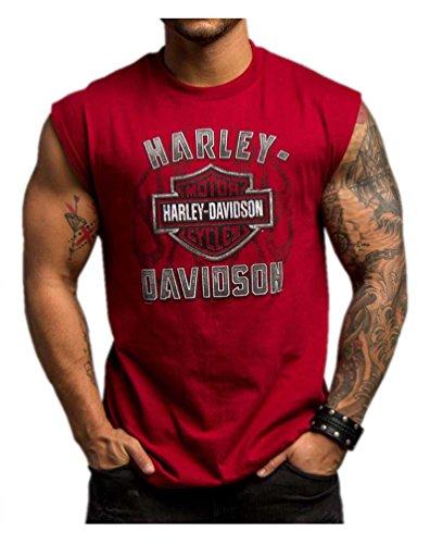 Harley-Davidson Men's Ultimate Velocity Sleeveless Muscle Shirt, Red 5501-HC8M