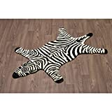 3' x 5' White Black Stripe Zebra Skin Shape Area Rug, Wool Cotton Animal Wild Africa Safari Lively Wilderness Charming Quality Unique Majestic, Indoor Living Room Bedroom Accent Carpet